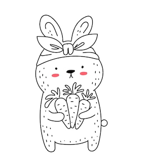 Vector line drawing cute rabbit with carrot doodle illustration