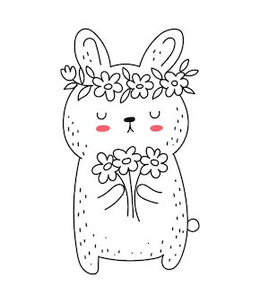Vector line drawing cute rabbit with flowers doodle illustration