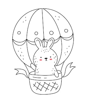 Vector line drawing cute rabbit with hot air balloon doodle illustration