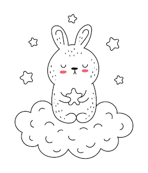 Vector line drawing cute rabbit with star and cloud doodle illustration