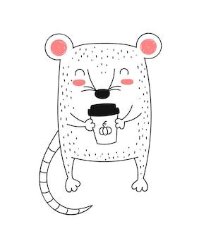 かわいいネズミを描くベクトル線