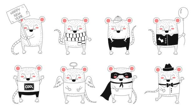 벡터 라인 드로잉 귀여운 쥐 중국 달력의 상징