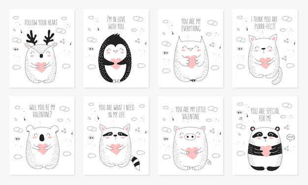Vector line drawing postcard collection with cute animals and hearts
