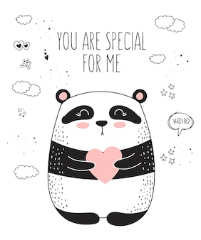 Векторный плакат рисования линии с милым животным и сердцем. иллюстрация каракули. день святого валентина, юбилей, детский душ, день рождения, детский праздник