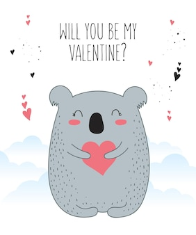 귀여운 동물과 심장 낙서 일러스트와 함께 벡터 라인 드로잉 포스터