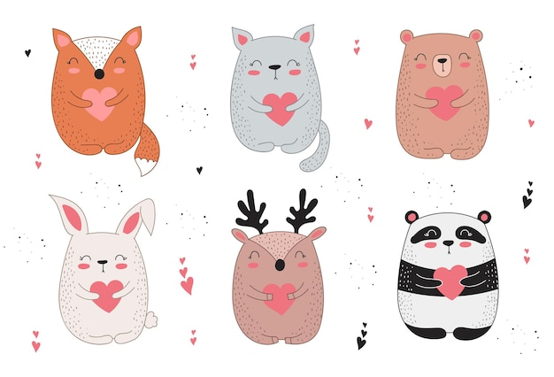 Vector line drawing poster with cute animal and heart