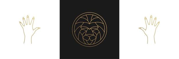 Vector line elegant decoration design elements set lion head and gesture hands illustrations minimal