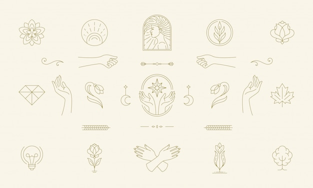 Vector line feminine decoration design elements set - female face and gesture hands illustrations simple linear style