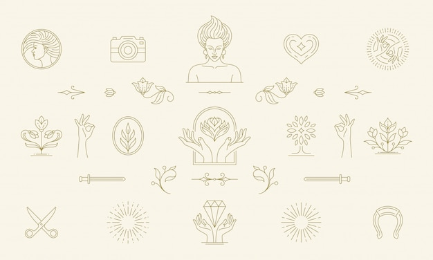 Vector line feminine decoration design elements set - women face and gesture hands illustrations linear style