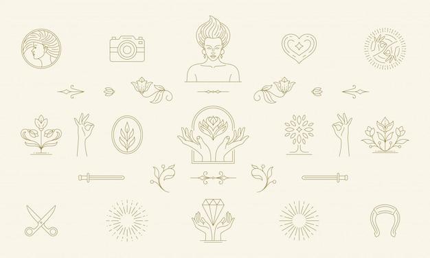 Vector line feminine decoration design elements set - women face and gesture hands illustrations linear style