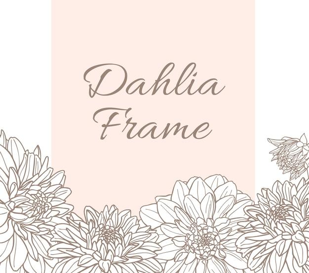 ダリアの花とベクトルラインフレーム