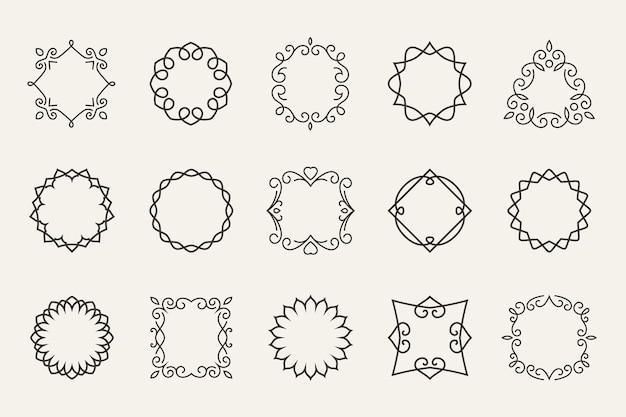 Set di cornici di linea vettoriale. profilo decorativo, forma della decorazione, simbolo del contorno o timbro