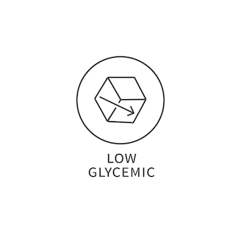 Vector line logo, badge or icon - low glycemic food. symbol of healthy eating.