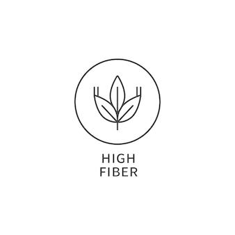 ベクトル線のロゴ、バッジ、またはアイコン-高繊維食品。健康的な食事のシンボル。