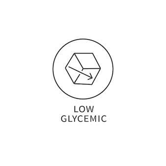ベクトル線のロゴ、バッジ、またはアイコン-低グリセミック食品。健康的な食事のシンボル。