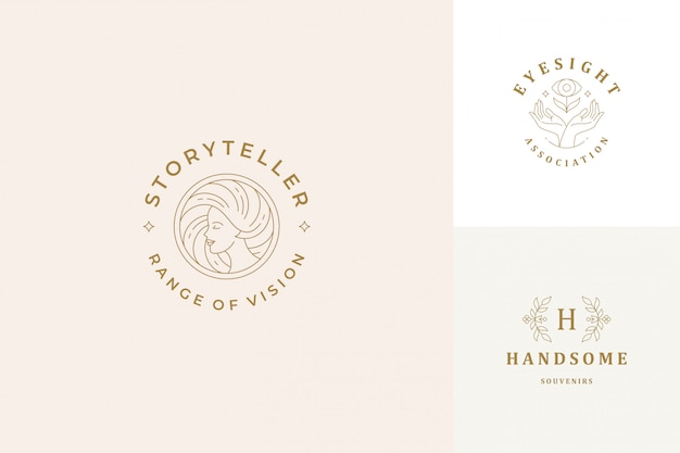 Vector line logos emblems design templates set - female face and gesture hands illustrations simple minimal linear style