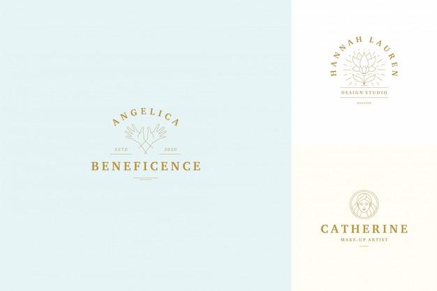 Vector line logos emblems design templates set