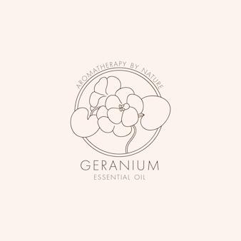 ベクトル線形植物アイコンとシンボル-ゼラニウム。エッセンシャルオイルゼラニウムのデザインロゴ。天然化粧品。