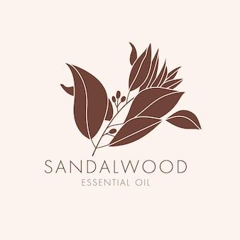 Вектор линейный ботанический значок и символ - сандал. дизайн логотипа для эфирного масла сандалового дерева. натуральный косметический продукт.