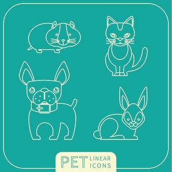 Векторные линейные иконки домашних животных.