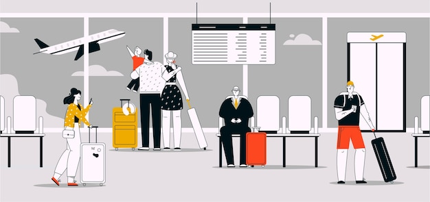 空港ターミナルシーンで荷物を持っている乗客のベクトル線形イラスト。飛行機を見ている家族旅行者