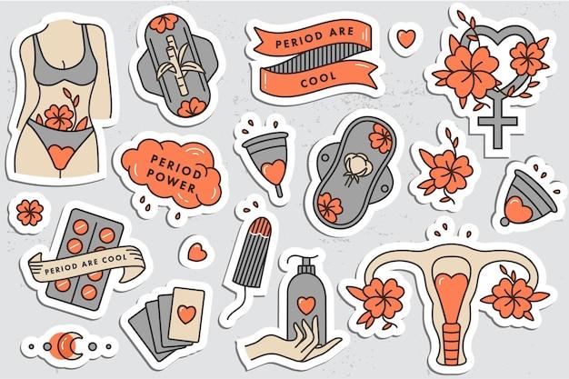 여성 위생 제품의 벡터 선형 그림 세트입니다. 중요한 날 여성을 위한 제로 폐기물 보호. 생리 기간. 알약, 패드, 탐폰 및 컵.