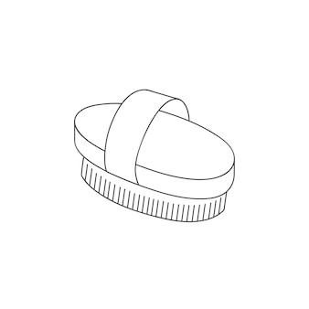 ボディ美容ツールをスクラブするためのベクトル線形イラストウッドドライブラシ