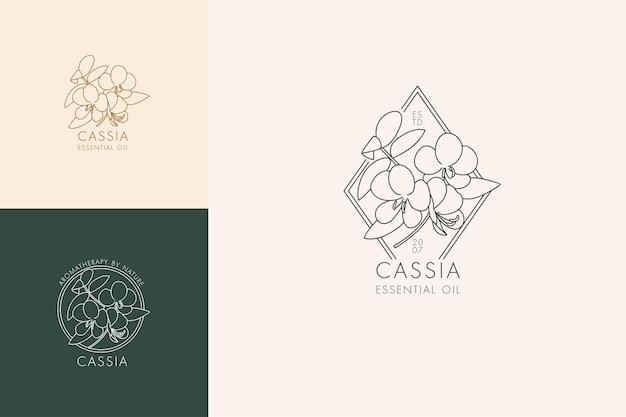 植物のアイコンと記号のベクトル線形セット-カッシア。エッセンシャルオイルカッシアのロゴをデザインします。天然化粧品。