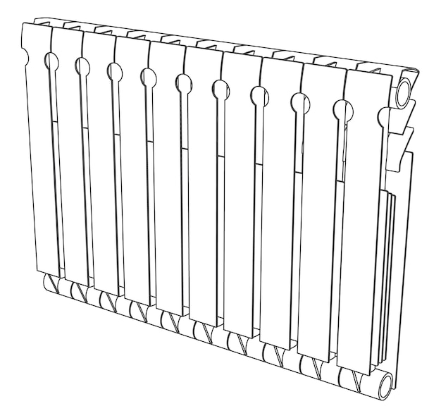 Vector link section heating radiator back view