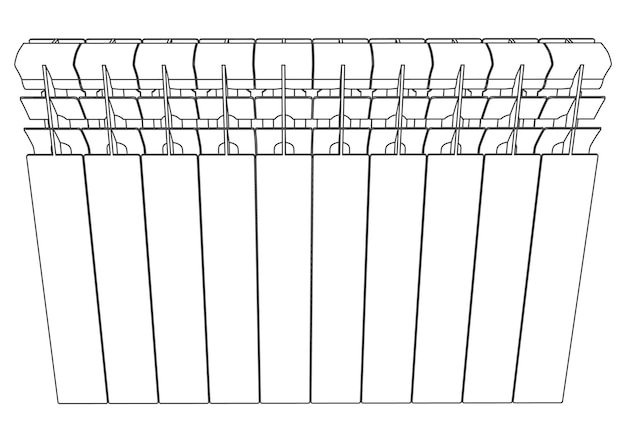Vector link section heating radiator front view
