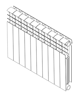 Vector link section heating radiator isometric view