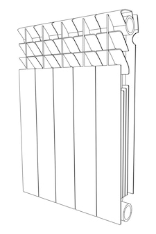 Vector link section heating radiator perspective view
