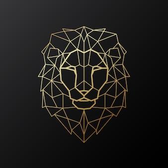 Vector lion head illustration in polygonal style