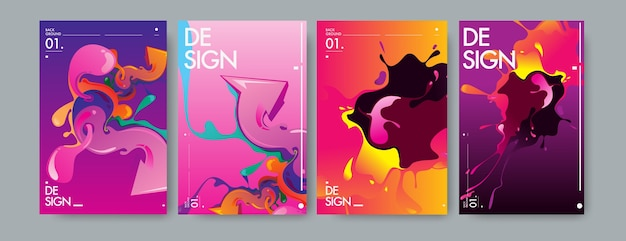 Vector liquid and flow colorful background.
