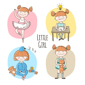 Vector little girl in different situation