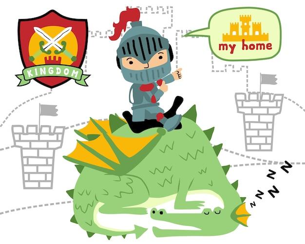 Vector of little knight on sleeping dragon cartoon