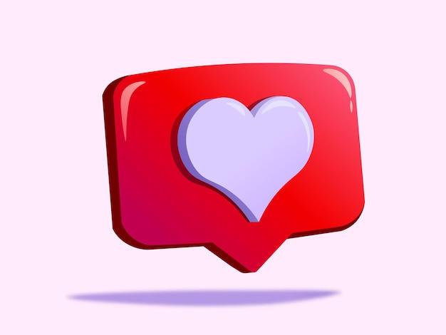 Vector logo or 3d notification symbol on social media instagram
