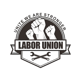 노동 조합에 대 한 벡터 로고, 배지, 엠 블 럼, 심볼 디자인