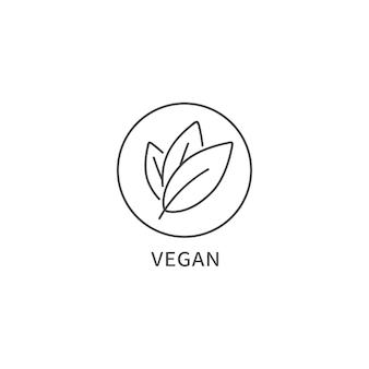 천연 및 유기농 제품에 대한 벡터 로고, 배지 또는 아이콘. 에코 안전 표지판 디자인입니다. 비건 사인