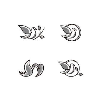 Vector logo of birds icon line art gray color