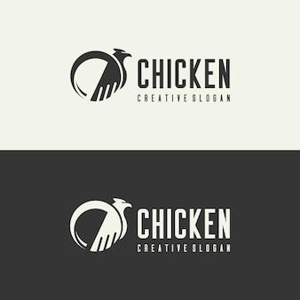 Векторный логотип курица концепция творческого