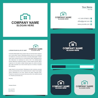 Векторный логотип дизайн значок фотографии и дома премиум