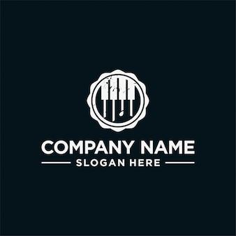 Векторный логотип дизайн премиум винтаж концепция пианино