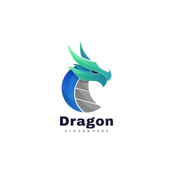 Vector logo dragon gradient colorful style