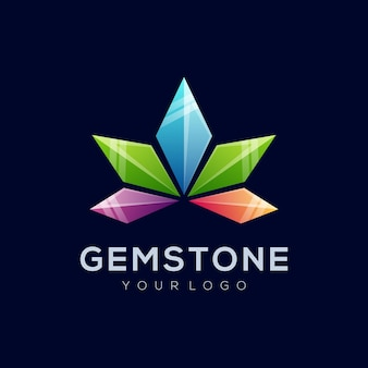 Vector logo illustration abstract gem stone shape colorful style