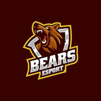 Векторная иллюстрация логотипа злой медведь e спорт и спортивный стиль