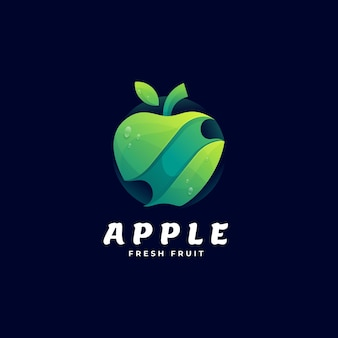 Vector logo illustration apple gradient colorful style
