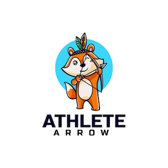 Vector logo illustration archery fox mascot cartoon style Premium Vector