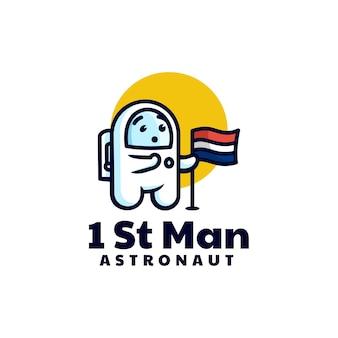 Векторная иллюстрация логотипа астронавт талисман мультяшном стиле