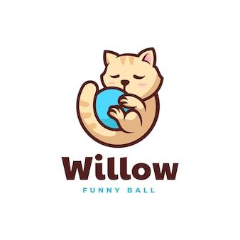 Векторная иллюстрация логотипа мяч кот стиле простой талисман